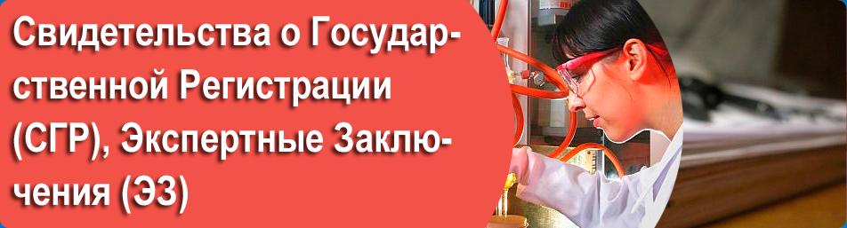 Свидетельства о Государственной Регистрации (СГР), Экспертные Заключения (ЭЗ)
